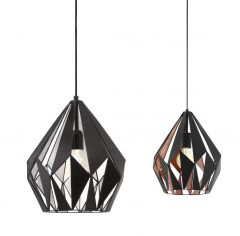 **49254 Carlton 1 Pendant Matt Blk/Copper